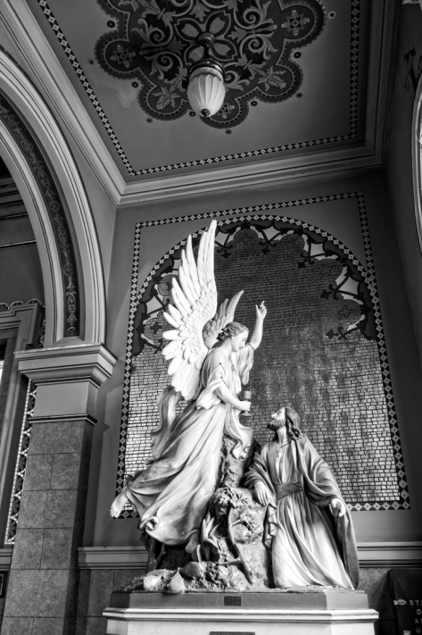This status of Jesus and the Angel is at St. Mary of the Angels church in Chicago.