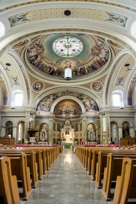 A vertical panorama view of St Hyacinth Basilica's (in Chicago) alter and dome. Stitched with six images.