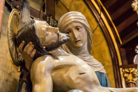 This depiction of Mary holding her son, Jesus, after the crucifixion is found at St. John Cantius, Chicago.