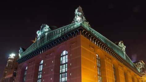 The Harold Washington Library in Chicago at night has owls instead of gargoyles guarding the rooftop.