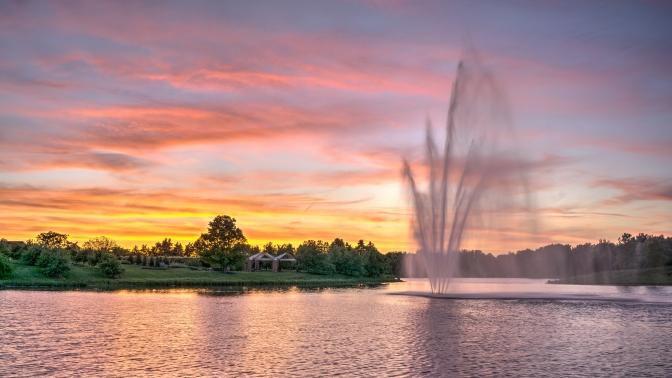 Water Fountain Sunset