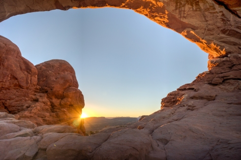 North Window Arch in Arches National Park at sunrise on July 1, 2014.
