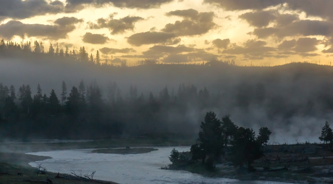 Sunrise on the Firehole River, Yellowstone National Park.