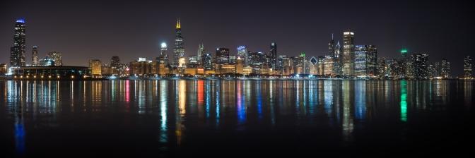 Chicago Skyline on liquid lights at night. (Redone)