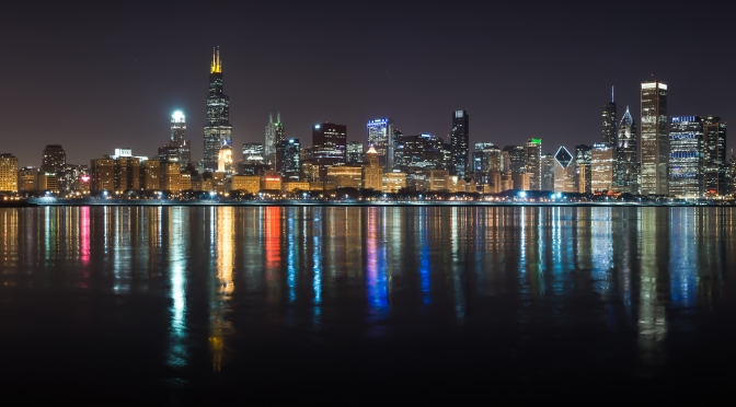 Chicago Skyline on liquid lights at night. (Redone)