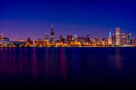 Chicago Skyline from Adler Planetarium. New Years morning, 2015.