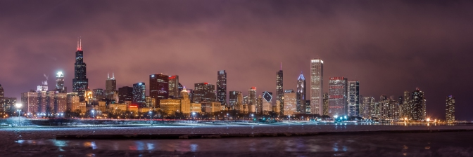 Chicago Skyline on Valentines Day