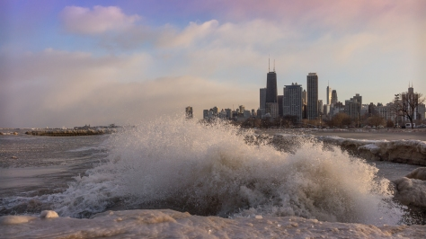 waves and ice in Chicago