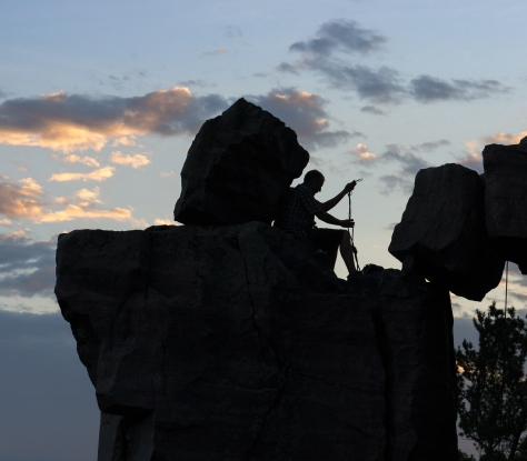 This rock climber was preparing to decend Devil's Window rock formation in Devil's Lake, WI.