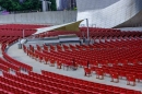 The red seats at the Pritzker Pavillion