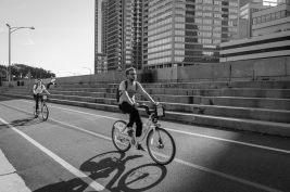 The bike path along Lake Shore Drive in Chicago invites many to enjoy it.