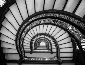 The staircase in the Rookery in Chicago