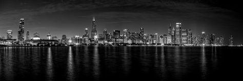 black and white skyline