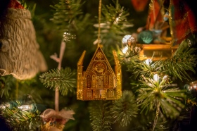 A little golden church hanging on my grandmother's tree. https://fullperspectivephotos.smugmug.com/Latest-images/i-xDtcQqV/A