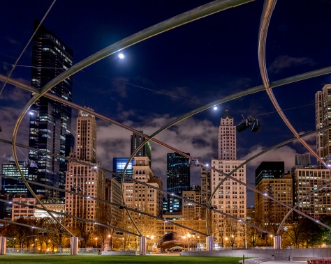 The Pritzker Pavilion in Chicago has these wonderful lines that draw you through the image and across the skyline.
